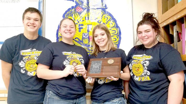 THE STOCKTON FFA GREENHAND TEAM of (from left) Zach Young, Cheyene Carlson, Kymberle LeiVan and Laci Green placed second in their division, with Cheyene Carlson placing 8th individually.